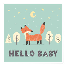 Premiumposter  A little fox is standing in the forest - Kidz Collection