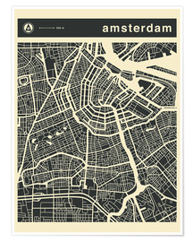 Premiumposter  AMSTERDAM CITY MAP - Jazzberry Blue