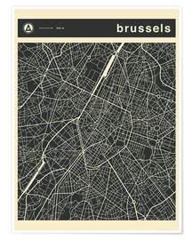 Premiumposter BRUSSELS CITY MAP