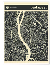 Premiumposter  Budapest City Map - Jazzberry Blue