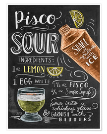 Poster  Pisco Sour recept - Lily & Val