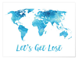 Premiumposter World Map Watercolor Blue