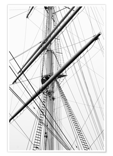 Premiumposter Detail view of a sailboat mast