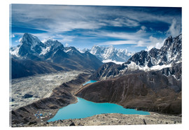 Akrylglastavla  Mountains with lake in the Himalayas, Nepal