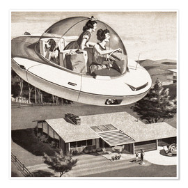Premiumposter  Woman Driving Flying Saucer