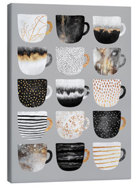 Canvastavla  Pretty coffee cups 3 in grey - Elisabeth Fredriksson