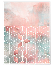 Premiumposter Rose Clouds And Cubes