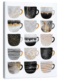 Canvastavla  Pretty coffee cups 3 in white - Elisabeth Fredriksson