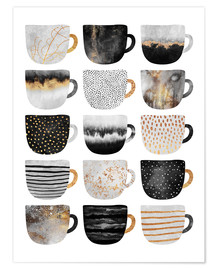 Poster  Pretty coffee cups 3 in white - Elisabeth Fredriksson