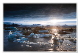 Premiumposter  Midnight sun at Jokulsarlon lagoon, Iceland - Matteo Colombo