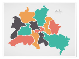 Premiumposter Berlin city map modern abstract with round shapes