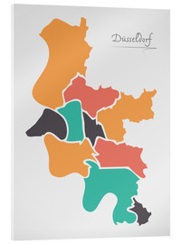 Akrylglastavla  Dusseldorf city map modern abstract with round shapes - Ingo Menhard
