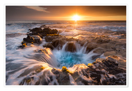 Premiumposter  Pools of Paradise during Sunset at the Coast of Hawaii (Big Island) - Markus Ulrich