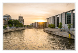 Premiumposter Sunset at the Reichstag in Berlin