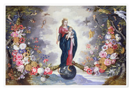 Premiumposter The Virgin and Child surrounded by a garland