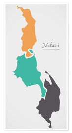 Premiumposter Malawi map modern abstract with round shapes