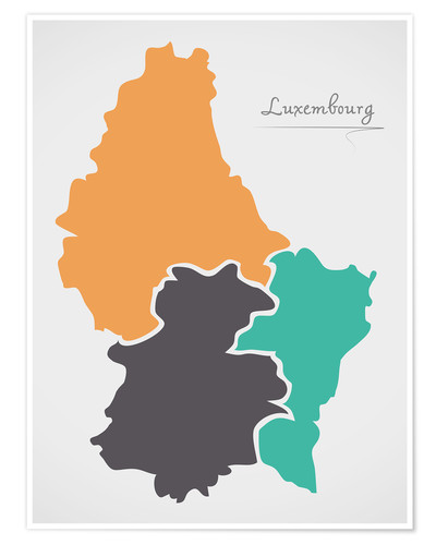 Premiumposter Luxembourg map modern abstract with round shapes