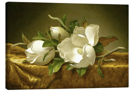 Canvastavla  Magnolias on Gold Velvet Cloth - Martin Johnson Heade