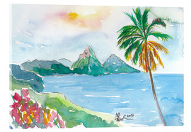 Akrylglastavla  St Lucia Caribbean Dreams With Sunset and Pitons Peaks - M. Bleichner