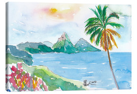 Canvastavla  St Lucia Caribbean Dreams With Sunset and Pitons Peaks - M. Bleichner