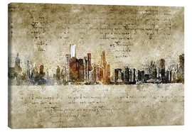Canvastavla  Chicago skyline in modern abstract vintage look - Michael artefacti