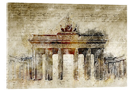 Akrylglastavla  Berlin Brandenburg Gate in modern abstract vintage look - Michael artefacti