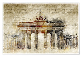 Premiumposter  Berlin Brandenburg Gate in modern abstract vintage look - Michael artefacti