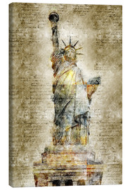 Canvastavla  Statue of liberty New York in modern abstract vintage look - Michael artefacti