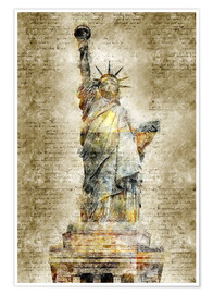 Premiumposter  Statue of liberty New York in modern abstract vintage look - Michael artefacti