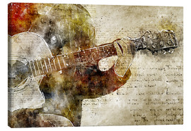 Canvastavla  Guitar musician in abstract modern vintage look - Michael artefacti