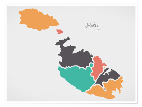 Premiumposter Malta map modern abstract with round shapes