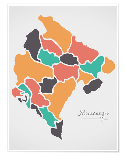 Premiumposter Montenegro map modern abstract with round shapes
