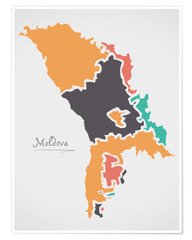 Premiumposter Moldova map modern abstract with round shapes