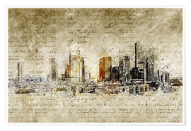 Premiumposter  Frankfurt skyline abstract vintage - Michael artefacti