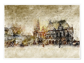 Premiumposter  Bremen market marketplace modern and abstract - Michael artefacti