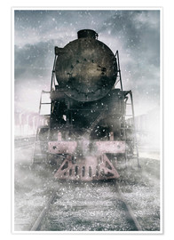 Premiumposter Steam train at the snowing day