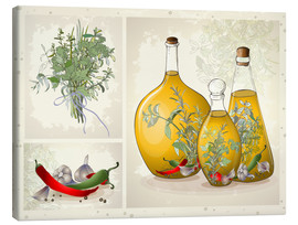 Canvastavla  Kitchen herbs collage