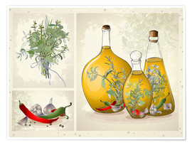Premiumposter Kitchen herbs collage