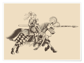 Premiumposter  Knight with armor and horse