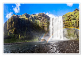 Premiumposter Skogafoss waterfall in south of Iceland