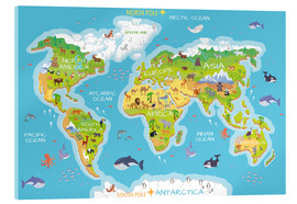 Akrylglastavla  World map with animals - Kidz Collection