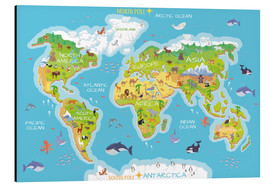 Aluminiumtavla  World map with animals - Kidz Collection