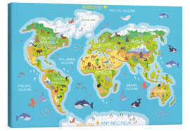 Canvastavla  World map with animals - Kidz Collection