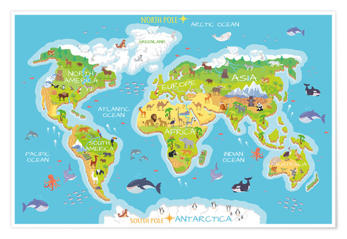 Premiumposter World map with animals
