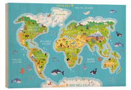 Trätavla  World map with animals - Kidz Collection