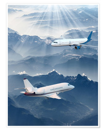 Premiumposter Two aircrafts over the mountains