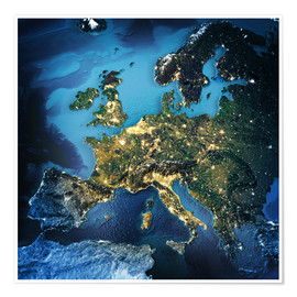 Premiumposter  Europe from space, NASA 3D rendering