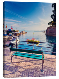 Canvastavla  Bench on the coast of Garda in Peschiera