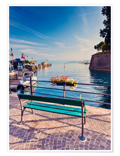 Premiumposter Bench on the coast of Garda in Peschiera