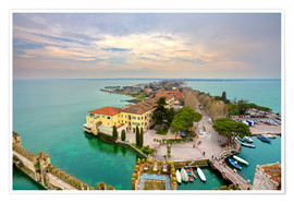 Premiumposter Scaglieri castle of Sirmione on Lake Garda